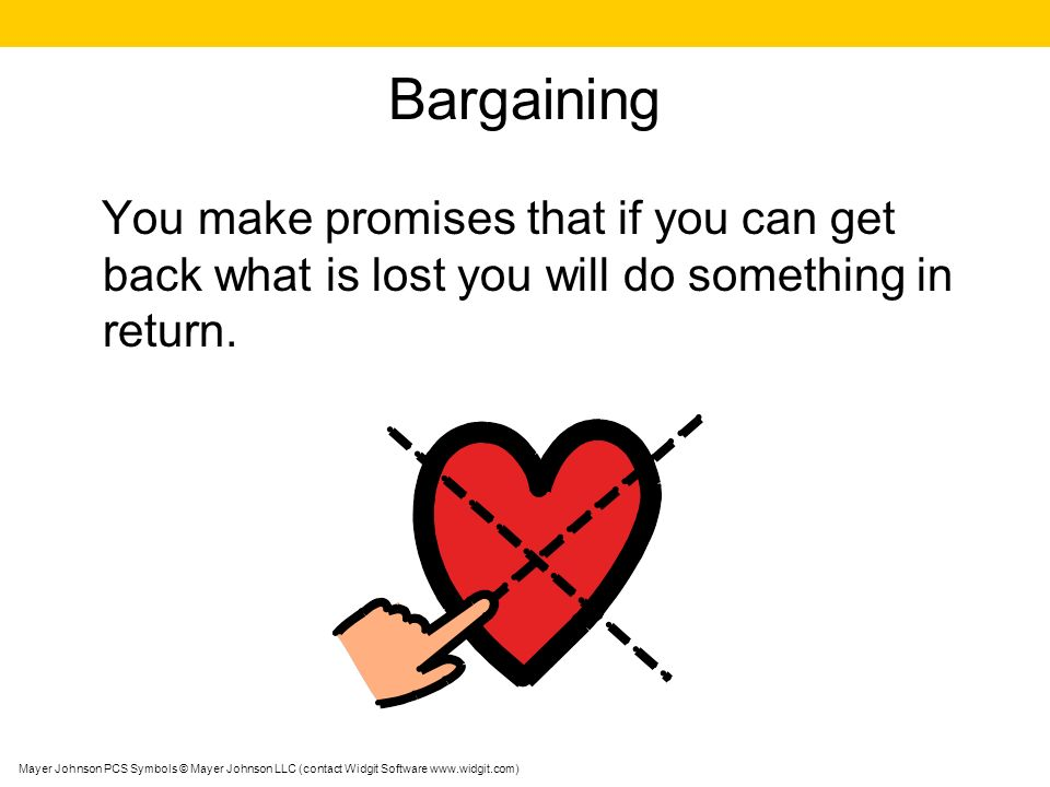 Bargaining You make promises that if you can get back what is lost you will do something in return.