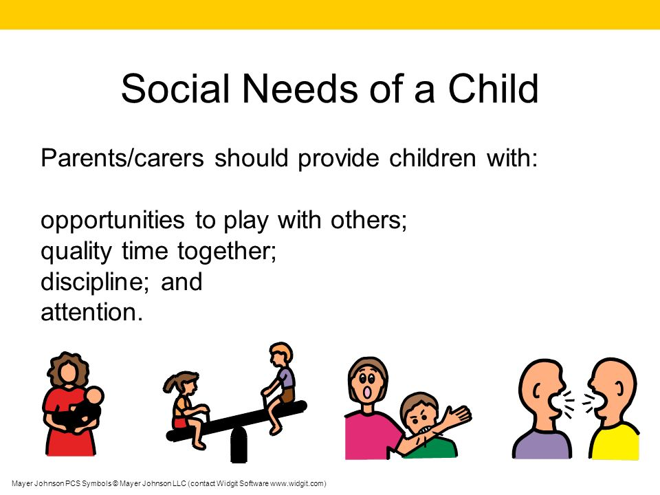 Social Needs of a Child Parents/carers should provide children with: