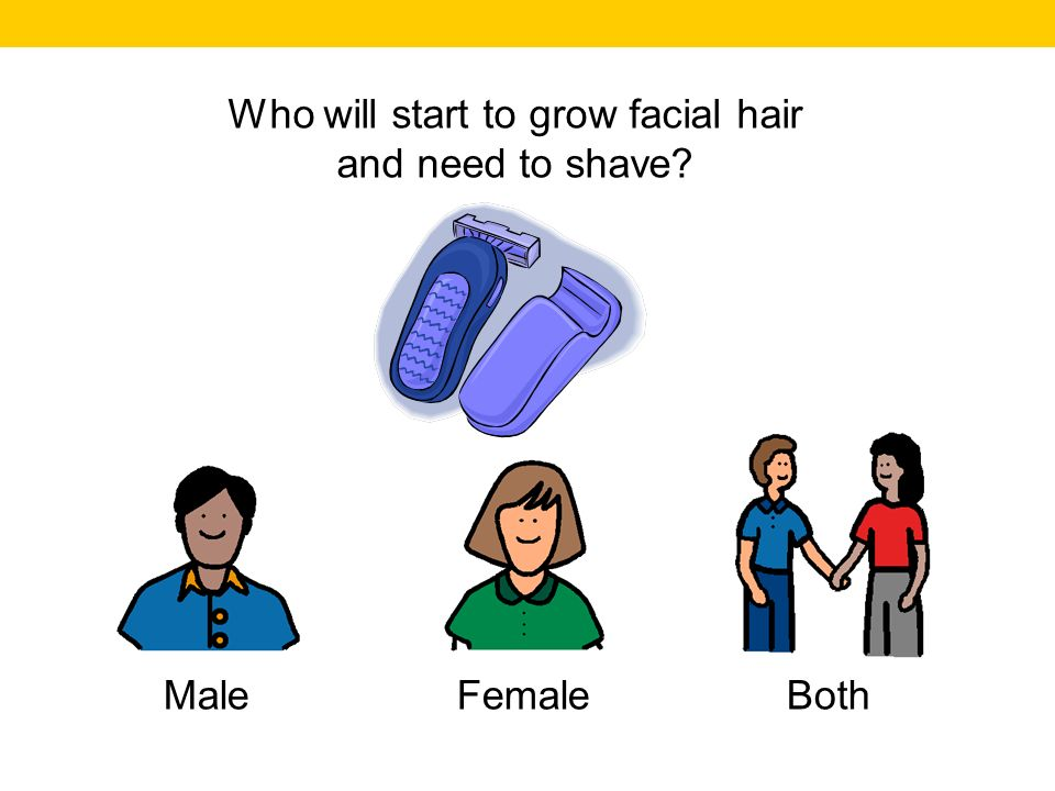 Who will start to grow facial hair and need to shave