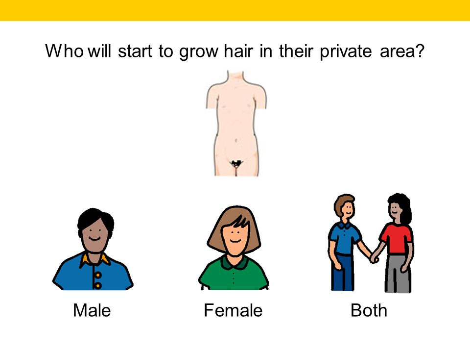 Who will start to grow hair in their private area