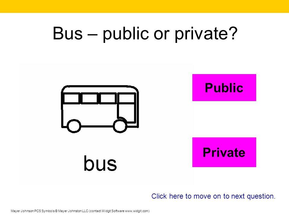 Bus – public or private Public Private