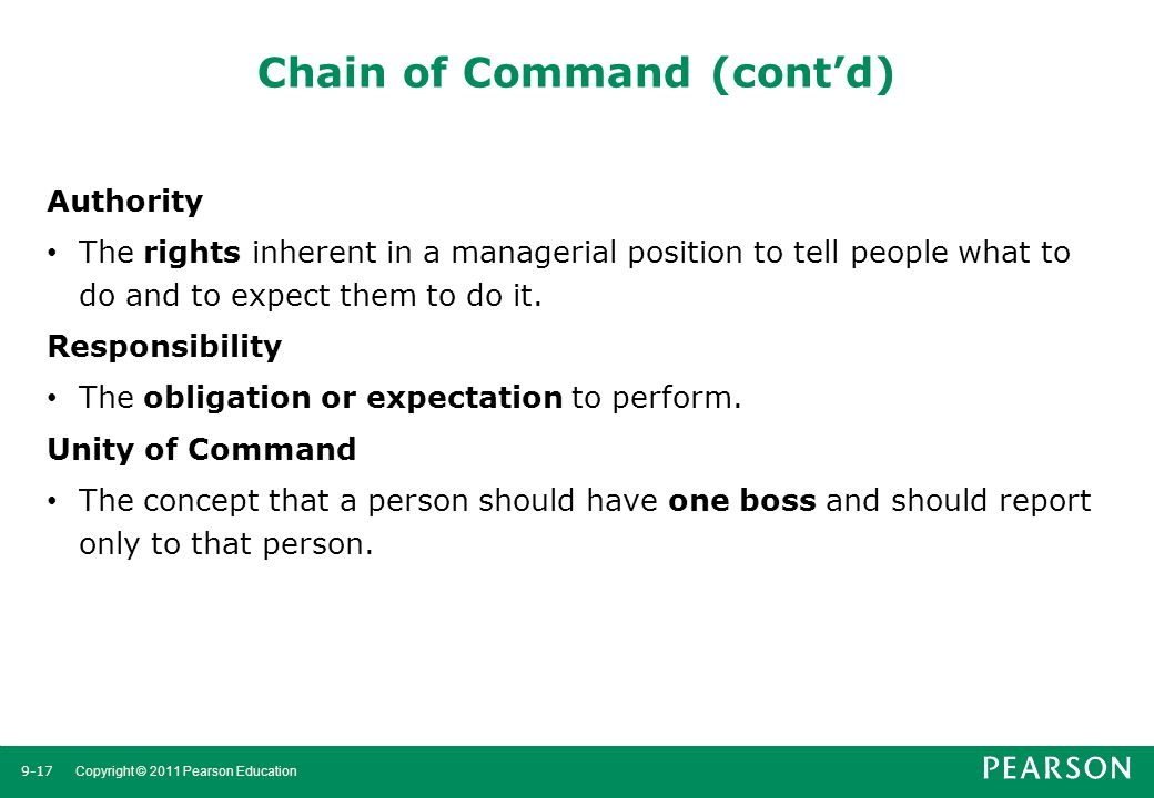 Chain of Command (cont'd)