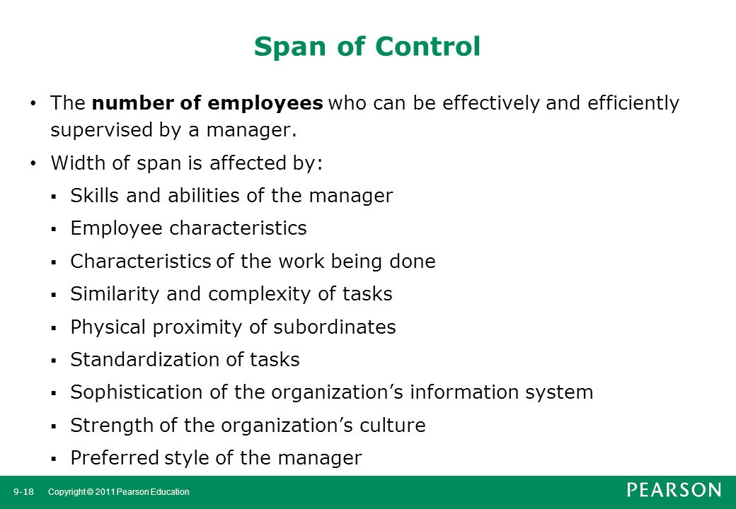 Span of Control The number of employees who can be effectively and efficiently supervised by a manager.