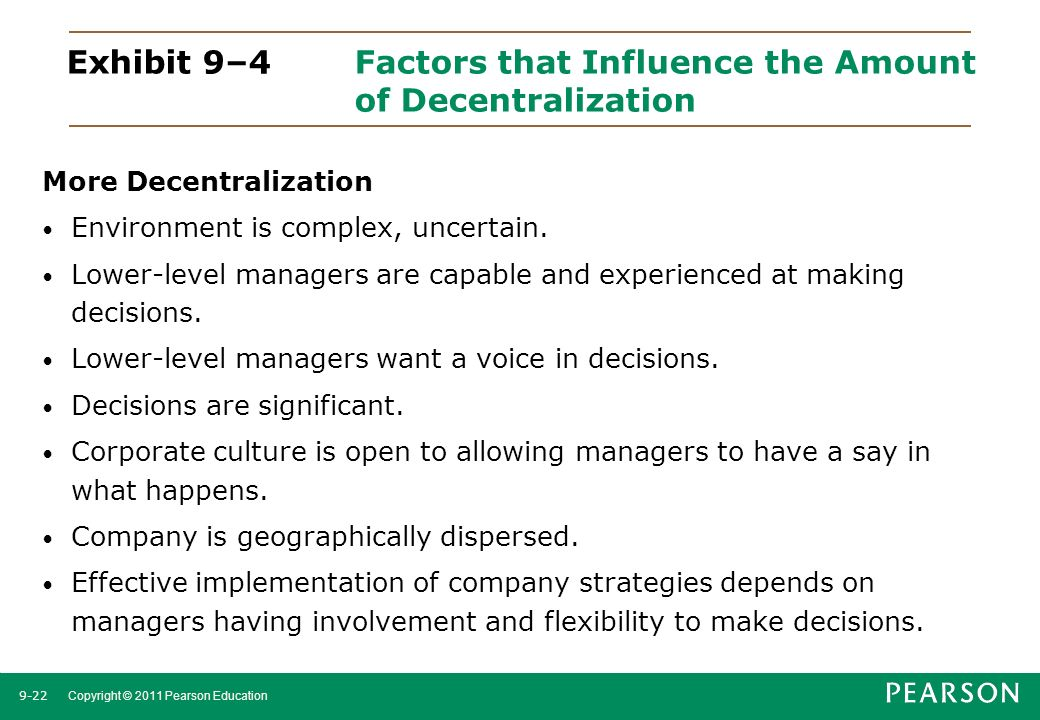 Exhibit 9–4 Factors that Influence the Amount of Decentralization