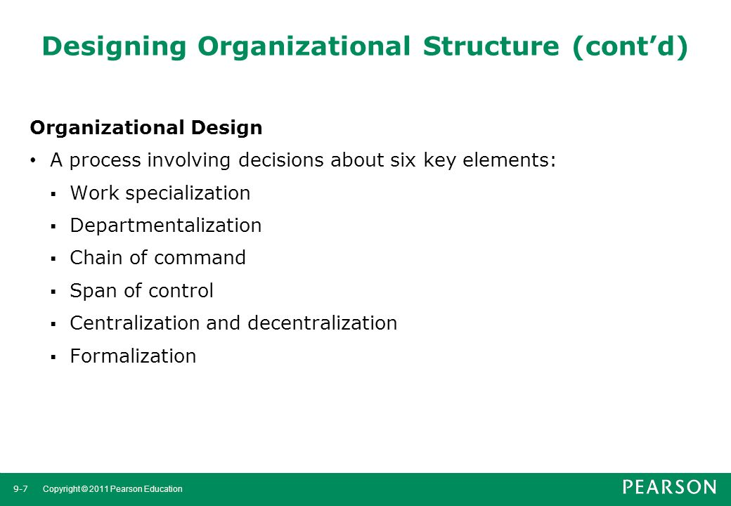 Designing Organizational Structure (cont'd)