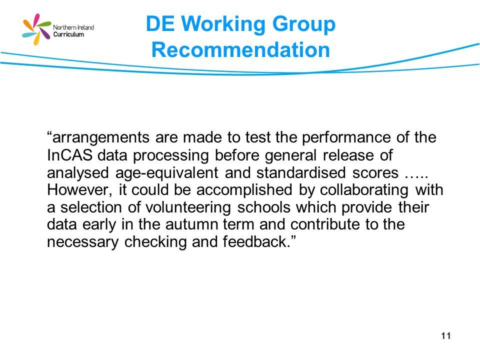 DE Working Group Recommendation