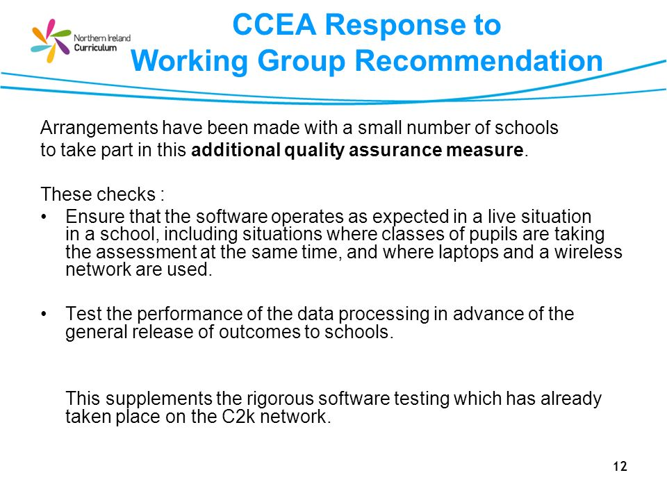 CCEA Response to Working Group Recommendation