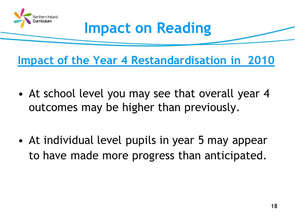 Impact on Reading Impact of the Year 4 Restandardisation in 2010