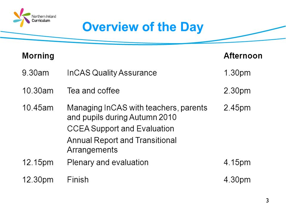 Overview of the Day Morning Afternoon 9.30am InCAS Quality Assurance