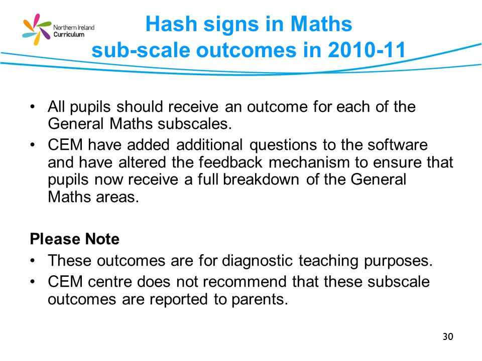 Hash signs in Maths sub-scale outcomes in 2010-11
