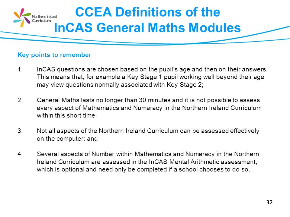 CCEA Definitions of the InCAS General Maths Modules