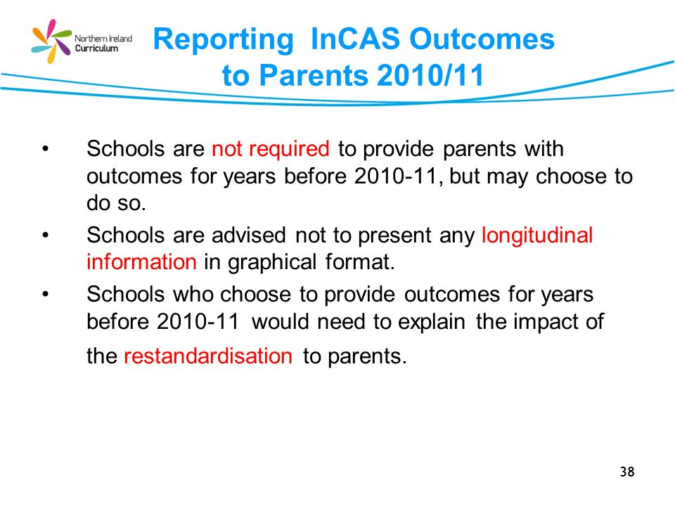 Reporting InCAS Outcomes to Parents 2010/11