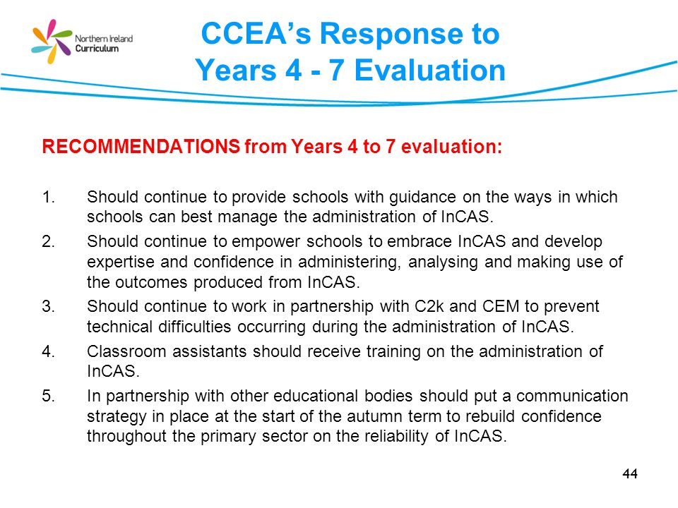 CCEA's Response to Years 4 - 7 Evaluation