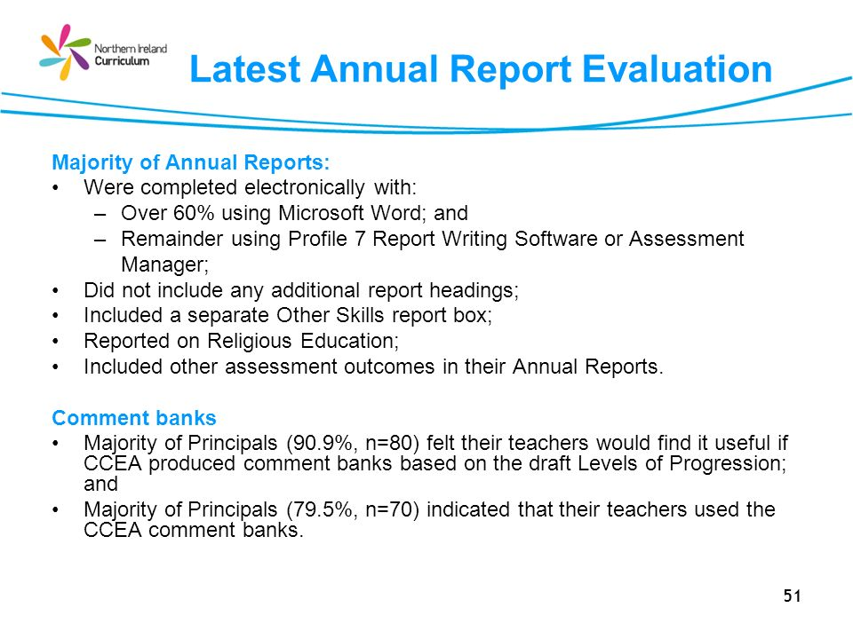 Latest Annual Report Evaluation