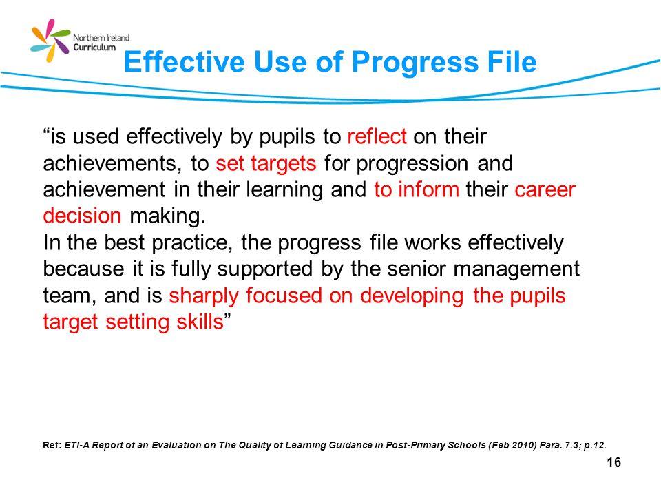 Effective Use of Progress File