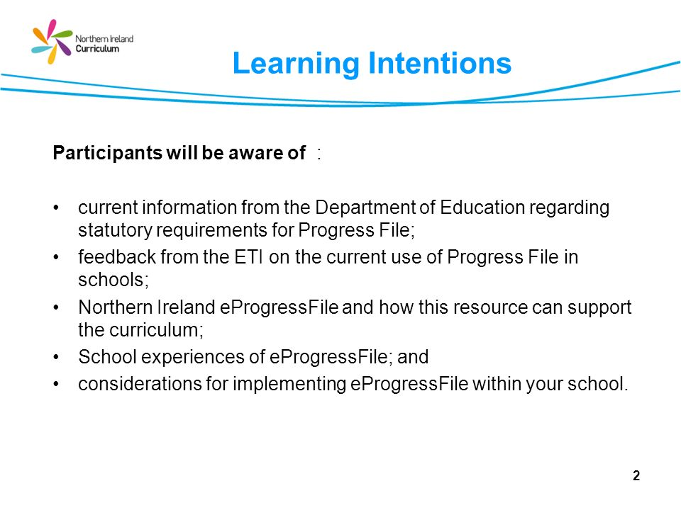 Learning Intentions Participants will be aware of :