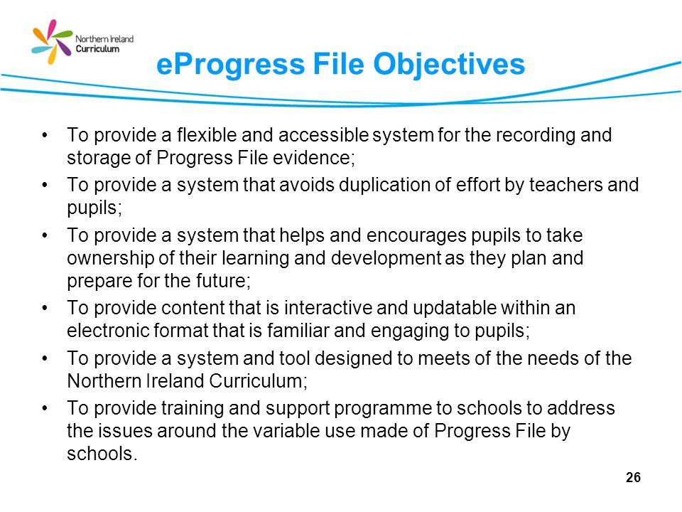 eProgress File Objectives