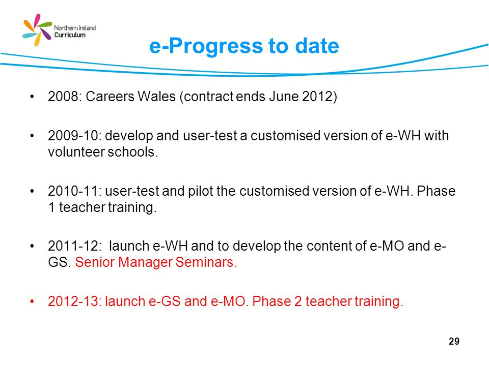 e-Progress to date 2008: Careers Wales (contract ends June 2012)
