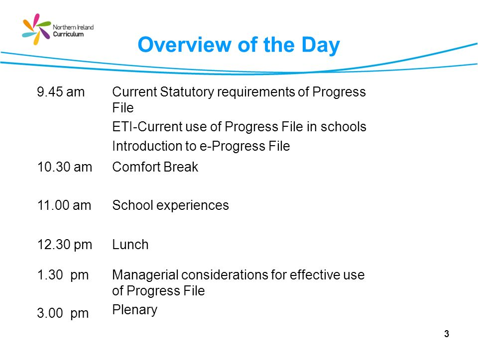 Overview of the Day 9.45 am. Current Statutory requirements of Progress File. ETI-Current use of Progress File in schools.