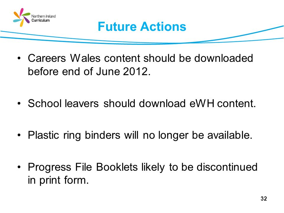 Future Actions Careers Wales content should be downloaded before end of June 2012. School leavers should download eWH content.