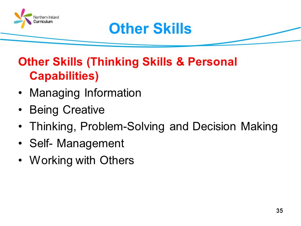 Other Skills Other Skills (Thinking Skills & Personal Capabilities)