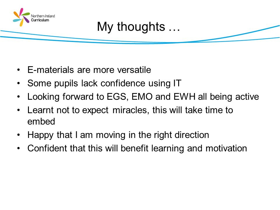 My thoughts … E-materials are more versatile
