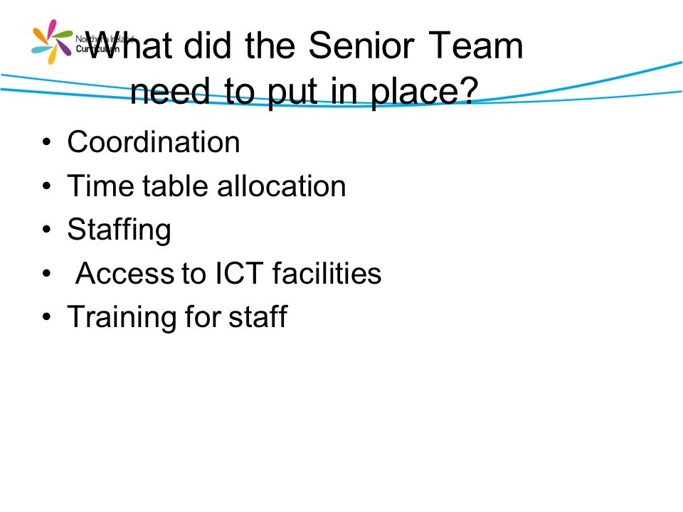 What did the Senior Team need to put in place