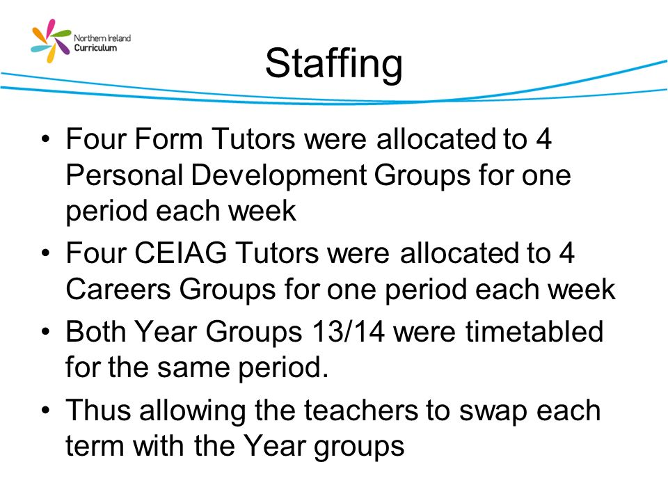 Staffing Four Form Tutors were allocated to 4 Personal Development Groups for one period each week.