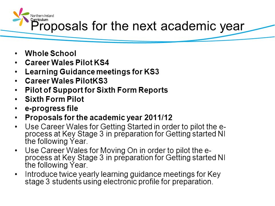 Proposals for the next academic year