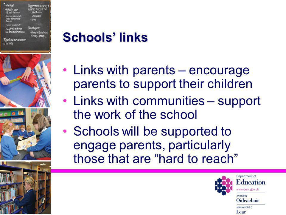 Links with parents – encourage parents to support their children