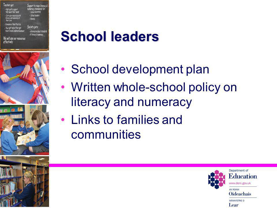 School leaders School development plan