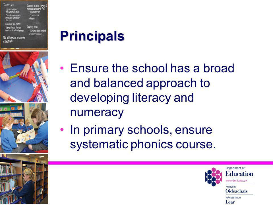 Principals Ensure the school has a broad and balanced approach to developing literacy and numeracy.