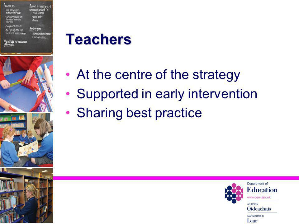 Teachers At the centre of the strategy Supported in early intervention