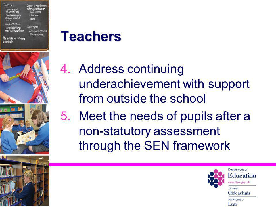 Teachers Address continuing underachievement with support from outside the school.
