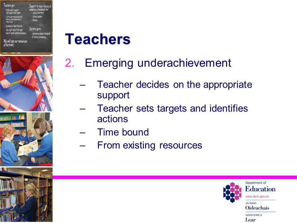 Teachers Emerging underachievement