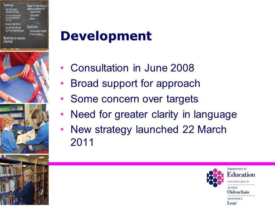 Development Consultation in June 2008 Broad support for approach