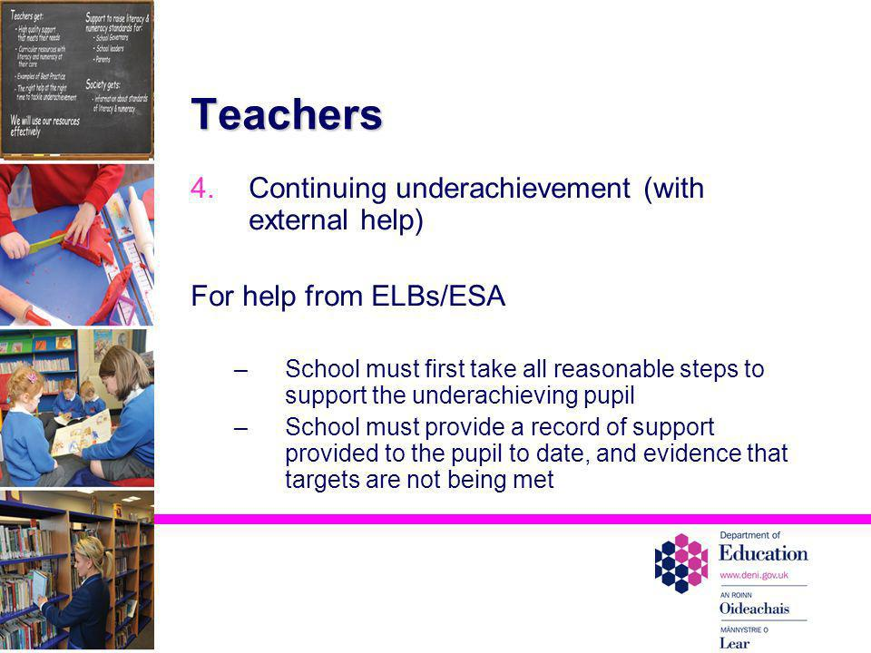 Teachers Continuing underachievement (with external help)
