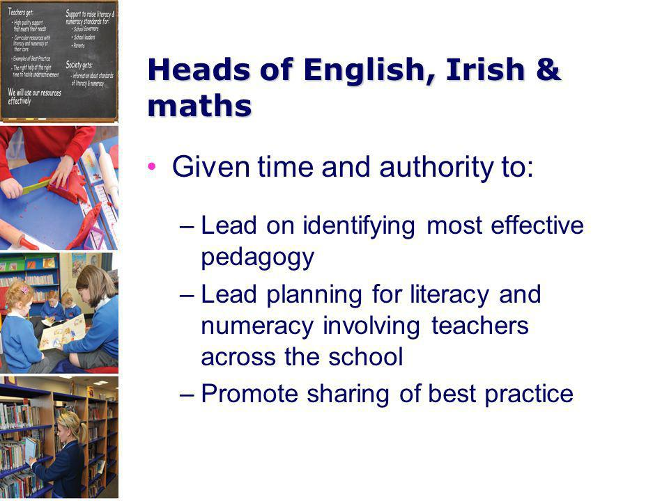 Heads of English, Irish & maths