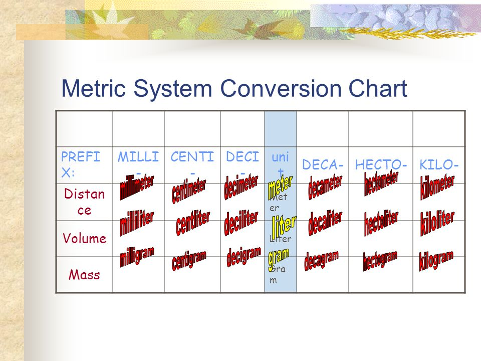 metric system conversion chart ppt download. Black Bedroom Furniture Sets. Home Design Ideas