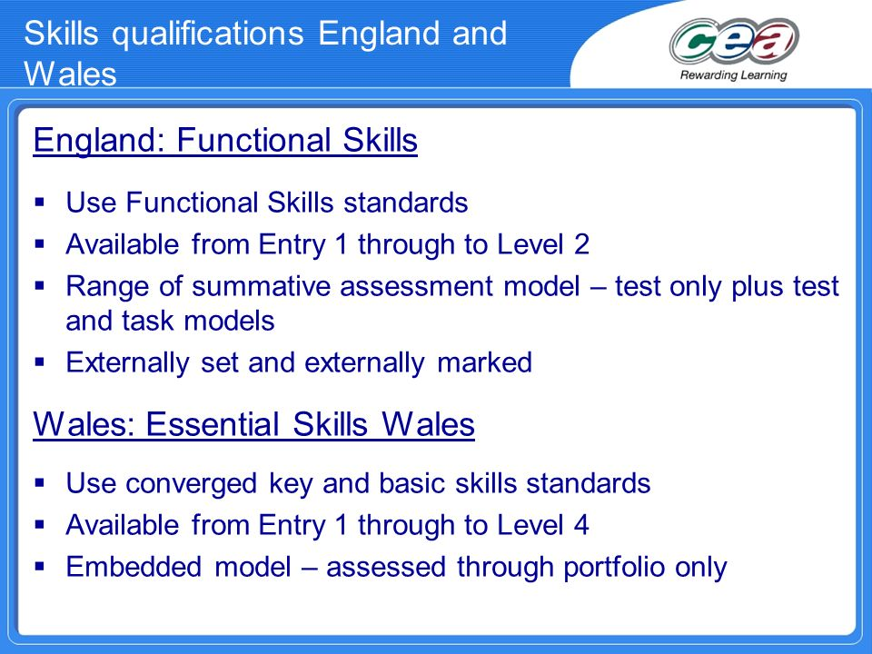 Skills qualifications England and Wales
