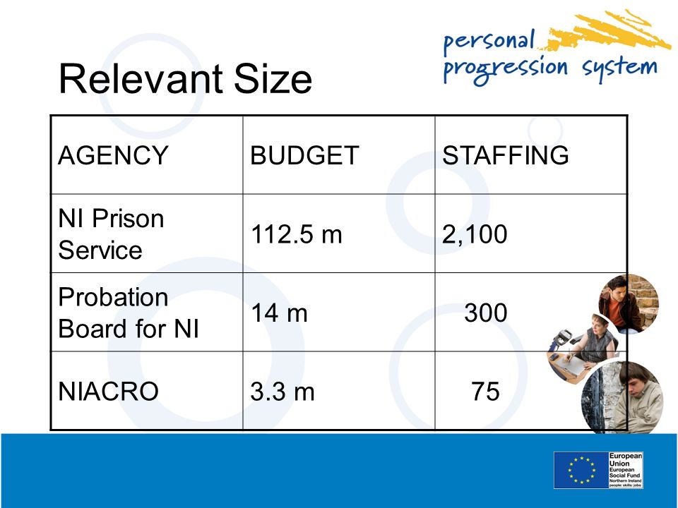 Relevant Size AGENCY BUDGET STAFFING NI Prison Service 112.5 m 2,100