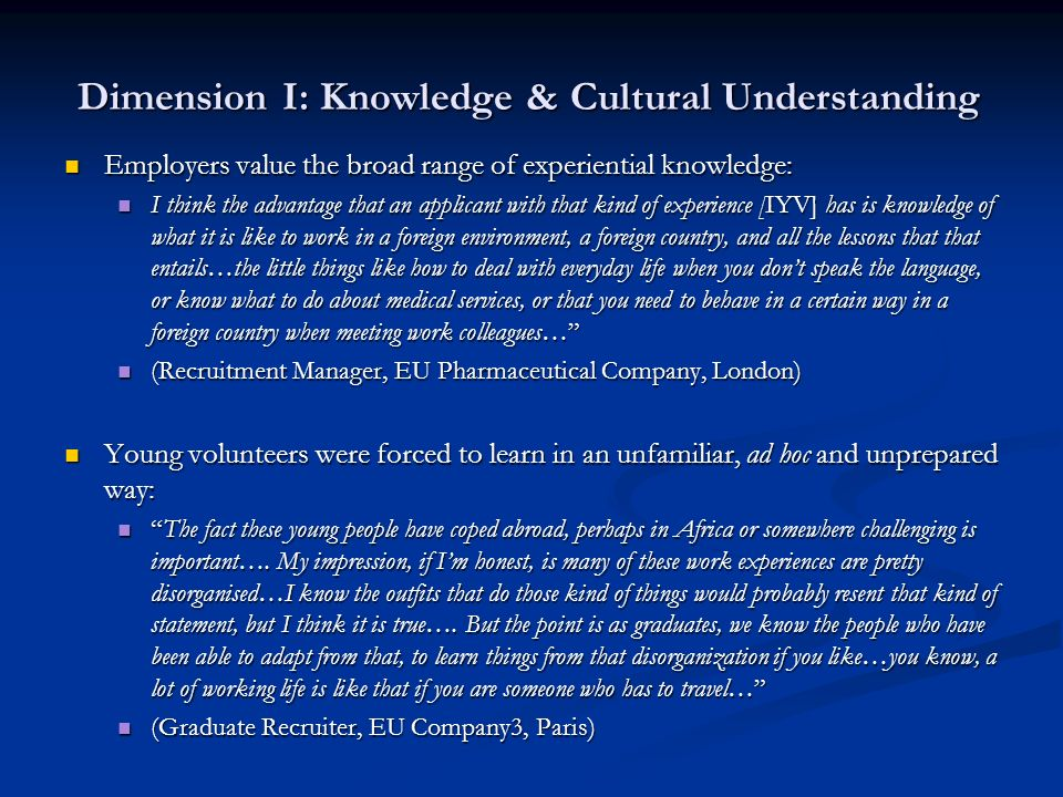 Dimension I: Knowledge & Cultural Understanding