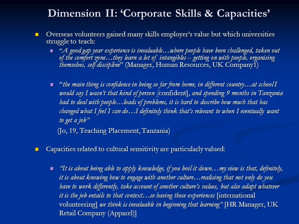 Dimension II: 'Corporate Skills & Capacities'