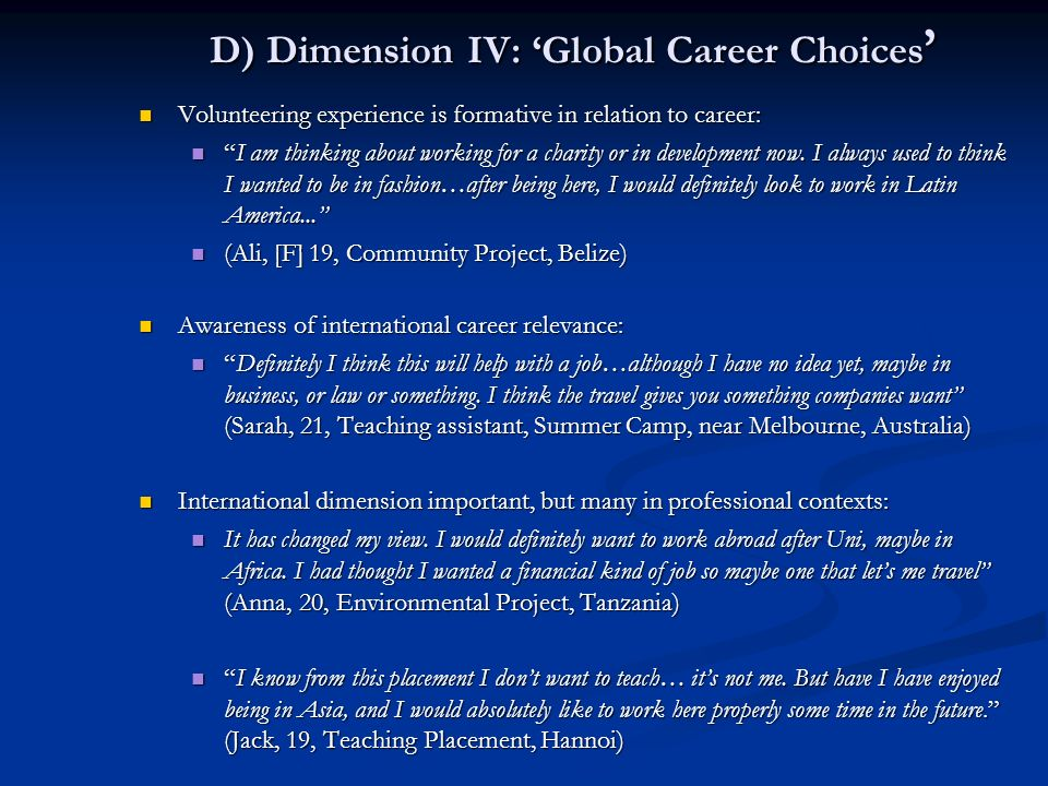 D) Dimension IV: 'Global Career Choices'