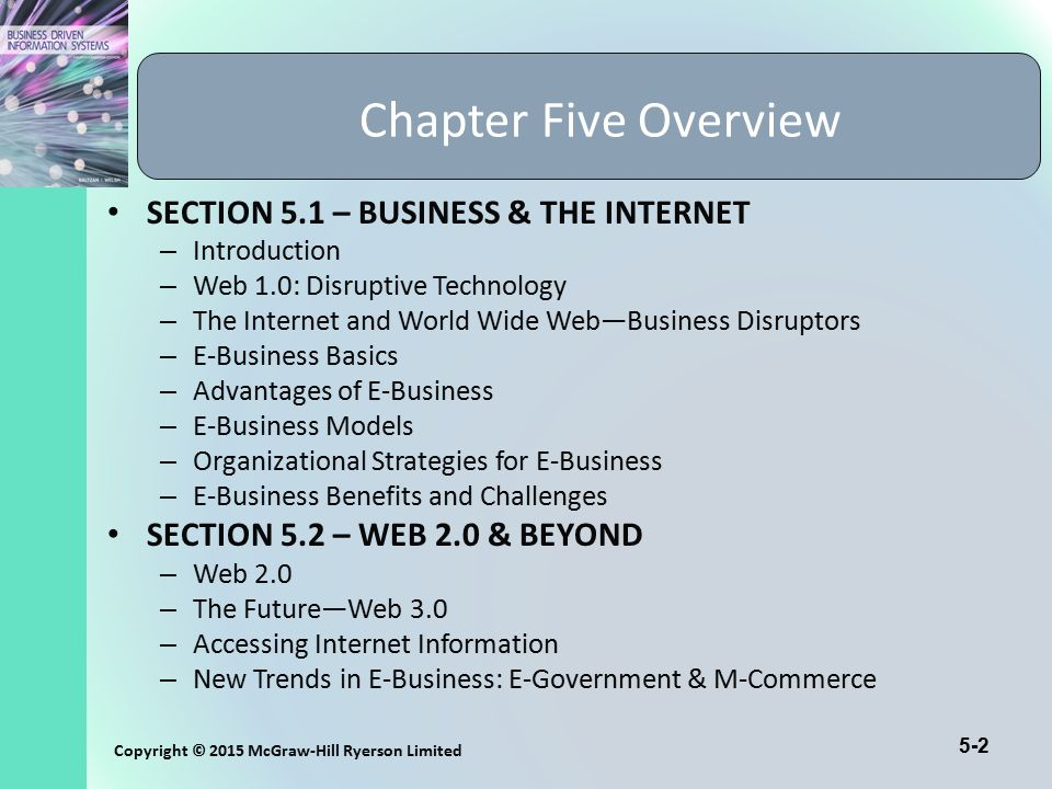 Chapter Five Overview SECTION 5.1 – BUSINESS & THE INTERNET
