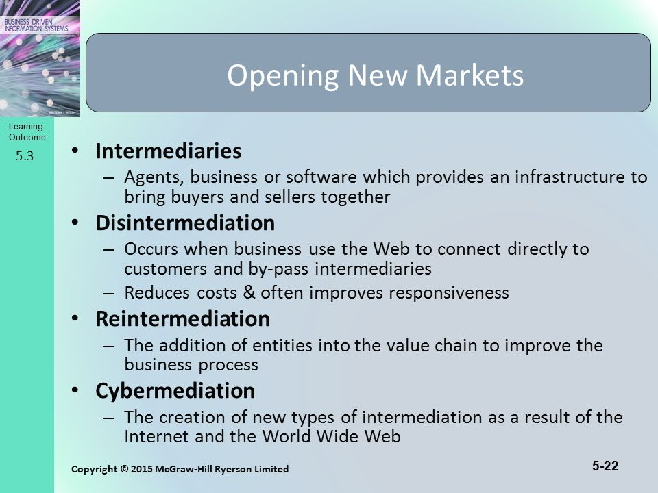 Opening New Markets Intermediaries Disintermediation Reintermediation