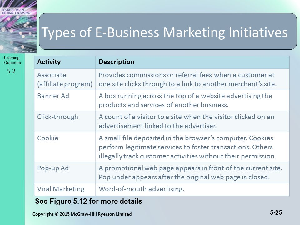 Types of E-Business Marketing Initiatives