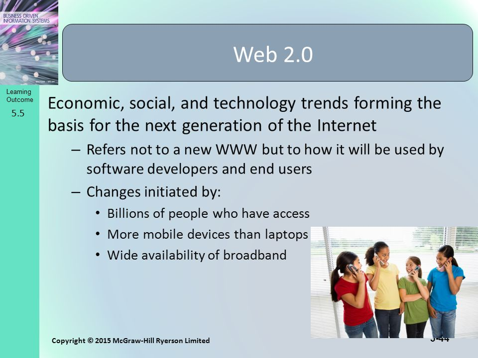 Web 2.0 Economic, social, and technology trends forming the basis for the next generation of the Internet.