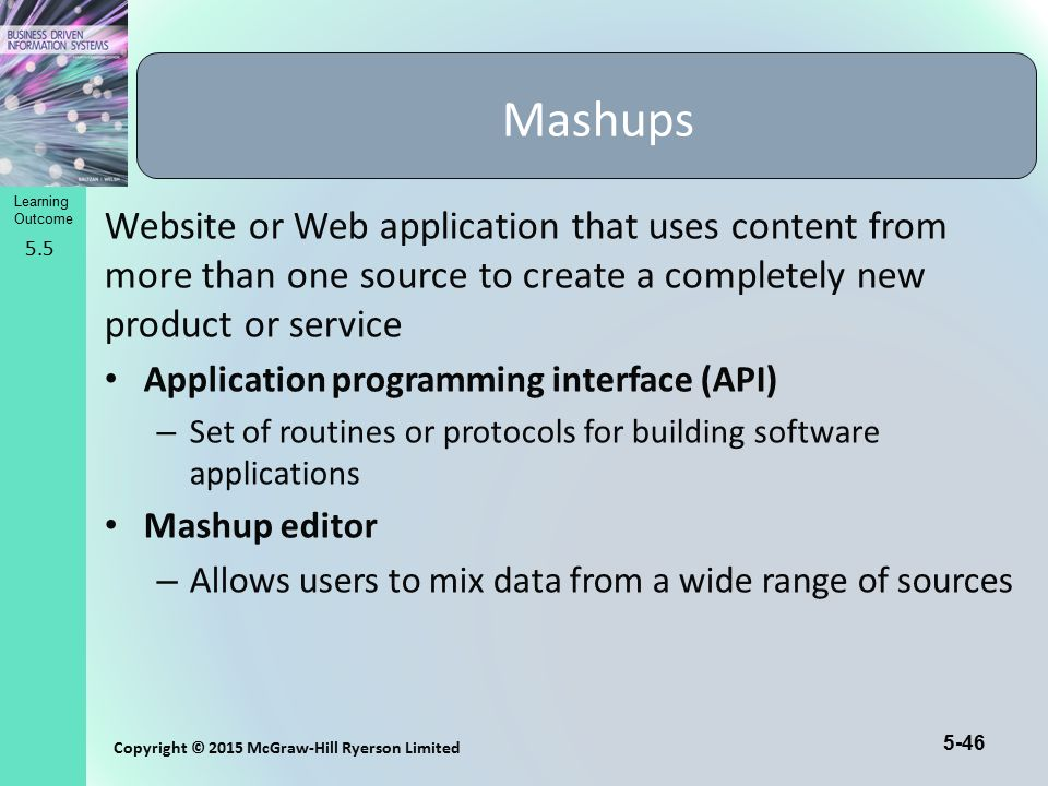 Mashups Website or Web application that uses content from more than one source to create a completely new product or service.