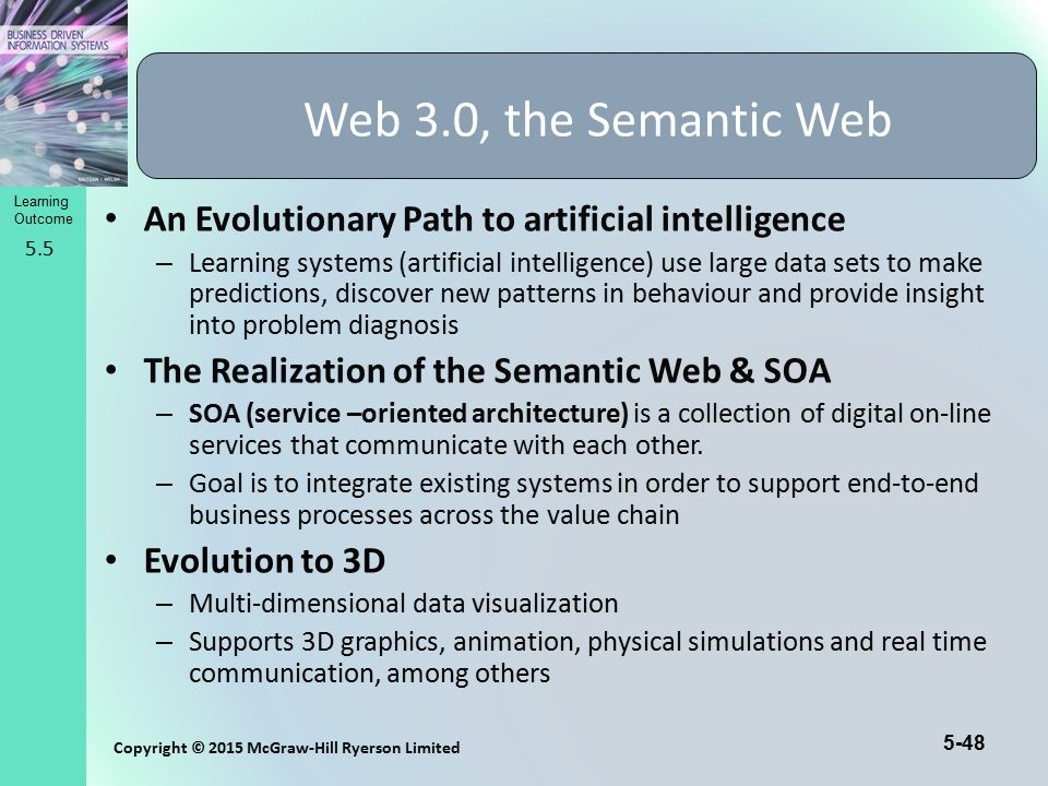 Web 3.0, the Semantic Web An Evolutionary Path to artificial intelligence.